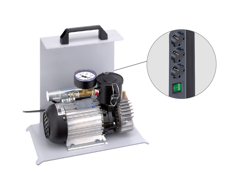 DOSCORNIO® bankmaster® Vakuumpumpe mit Steckdosenleiste / Vacuum Pump with multiple socket outlet